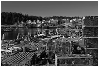 Lobster fishing village. Stonington, Maine, USA (black and white)