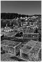 Lobster traps. Stonington, Maine, USA (black and white)