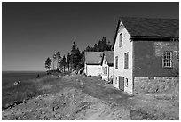 Historic houses and Penobscot Bay. Stonington, Maine, USA ( black and white)