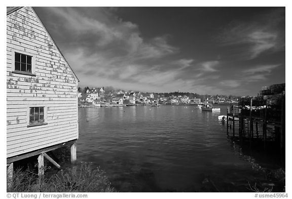 Lobstering village. Stonington, Maine, USA (black and white)