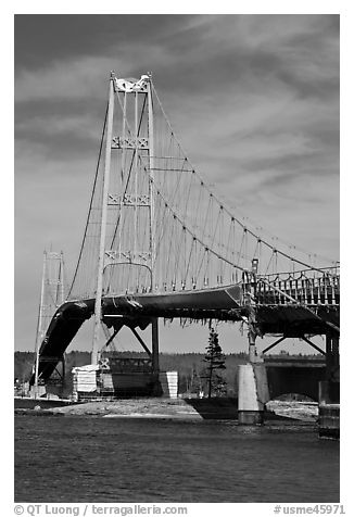 Suspension bridge between Little Deer Isle and mainland. Maine, USA (black and white)
