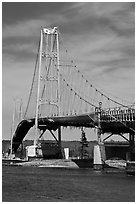 Suspension bridge between Little Deer Isle and mainland. Maine, USA ( black and white)