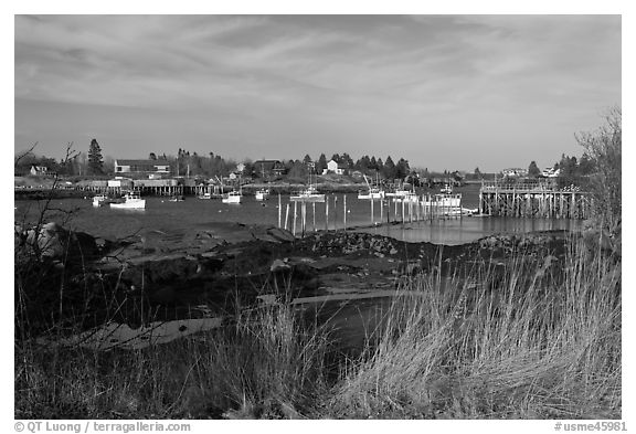 Traditional lobstering village. Corea, Maine, USA (black and white)