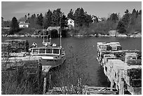 Lobster traps and boat. Corea, Maine, USA (black and white)