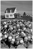 Colorful lobstering buoys. Corea, Maine, USA ( black and white)