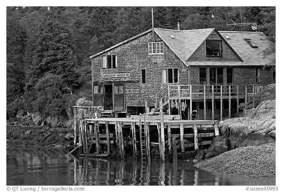 Wonsqueack harbor. Maine, USA (black and white)