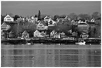 Seaport houses. Stonington, Maine, USA ( black and white)