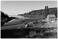 Schacks and inlet. Isle Au Haut, Maine, USA ( black and white)
