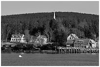 General store and church steeple. Isle Au Haut, Maine, USA ( black and white)
