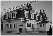 Post office in federal style at dusk. Stonington, Maine, USA ( black and white)