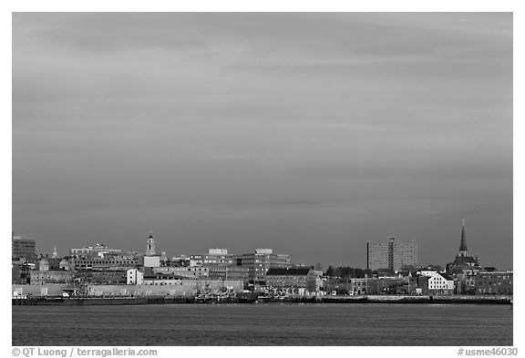 Skyline at sunrise. Portland, Maine, USA (black and white)