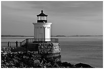 Children and Bug Light. Portland, Maine, USA (black and white)