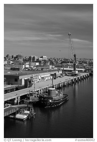 Harbor with welcome to Portland sign. Portland, Maine, USA (black and white)