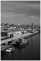 Harbor with welcome to Portland sign. Portland, Maine, USA ( black and white)