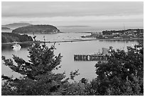 Bar Island and Frenchman bay. Bar Harbor, Maine, USA (black and white)