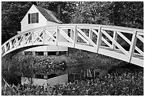 Arched bridge over mill pond. Maine, USA ( black and white)