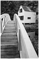 White wooden bridged and house. Maine, USA ( black and white)