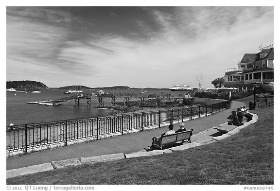 Shore path and harbor. Bar Harbor, Maine, USA (black and white)