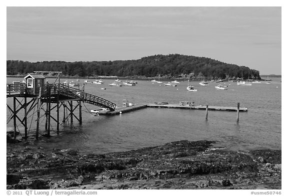 Harbor and Bar Island. Bar Harbor, Maine, USA (black and white)