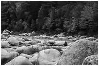 Huge boulders and Wassatotaquoik Stream in autumn. Katahdin Woods and Waters National Monument, Maine, USA ( black and white)
