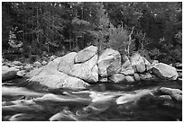 Orin Falls in autumn. Katahdin Woods and Waters National Monument, Maine, USA ( black and white)