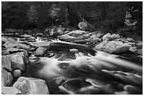 Orin Falls of the Wassatotaquoik Stream. Katahdin Woods and Waters National Monument, Maine, USA ( black and white)