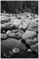 Boulders near Orin Falls in autumn. Katahdin Woods and Waters National Monument, Maine, USA ( black and white)