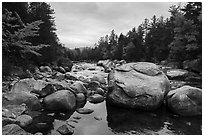 Wassatotaquoik Stream at Orin Falls. Katahdin Woods and Waters National Monument, Maine, USA ( black and white)