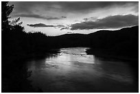 East Branch Penobscot River, sunset. Katahdin Woods and Waters National Monument, Maine, USA ( black and white)