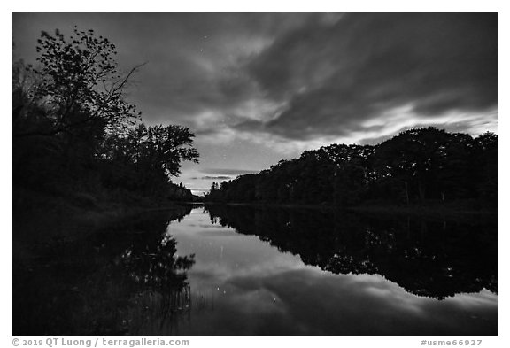 East Branch Penobscot River from Lunksoos Camp at night. Katahdin Woods and Waters National Monument, Maine, USA (black and white)