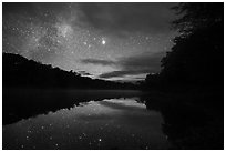 East Branch Penobscot River from Lunksoos Camp with stars. Katahdin Woods and Waters National Monument, Maine, USA ( black and white)