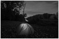 Tent with light at Lunksoos Camp. Katahdin Woods and Waters National Monument, Maine, USA ( black and white)