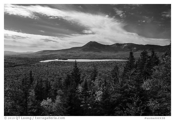 Katahdin and Katahdin Lake from Barnard Mountain. Katahdin Woods and Waters National Monument, Maine, USA (black and white)