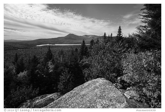 Baxter State Park from from Barnard Mountain in autumn. Katahdin Woods and Waters National Monument, Maine, USA (black and white)