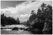 Haskell Rock Pitch, and Haskell Rock. Katahdin Woods and Waters National Monument, Maine, USA ( black and white)