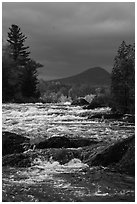 Haskell Rock Pitch of the East Branch Penobscot River, and Bald Mountain. Katahdin Woods and Waters National Monument, Maine, USA ( black and white)