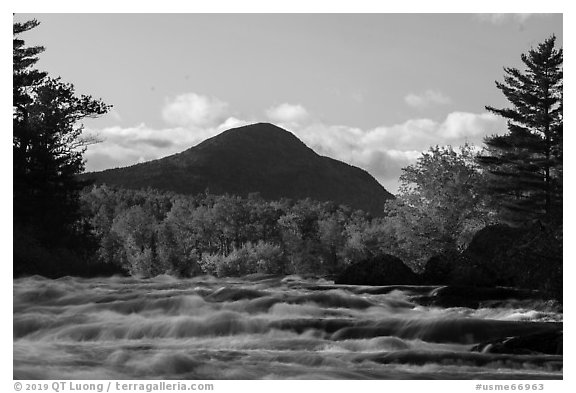 Haskell Rock Pitch rapids and Bald Mountain in autumn. Katahdin Woods and Waters National Monument, Maine, USA (black and white)