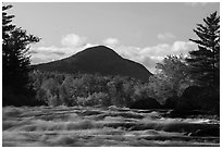 Haskell Rock Pitch rapids and Bald Mountain in autumn. Katahdin Woods and Waters National Monument, Maine, USA ( black and white)