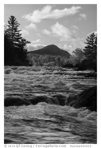 Haskell Rock Pitch whitewater and Bald Mountain in autumn. Katahdin Woods and Waters National Monument, Maine, USA (black and white)