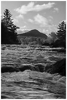 Haskell Rock Pitch whitewater and Bald Mountain in autumn. Katahdin Woods and Waters National Monument, Maine, USA ( black and white)