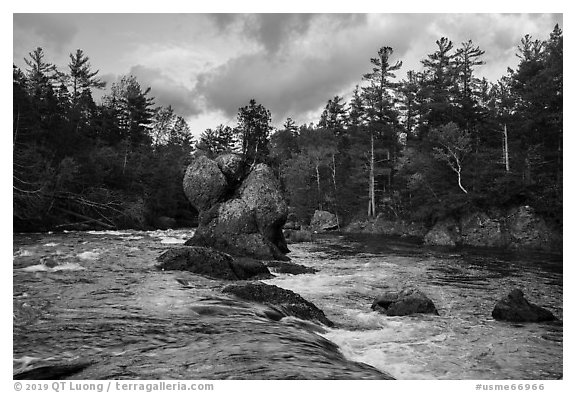 Haskell Rock. Katahdin Woods and Waters National Monument, Maine, USA (black and white)