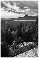 Mount Katahdin from Barnard Mountain top in autumn. Katahdin Woods and Waters National Monument, Maine, USA ( black and white)