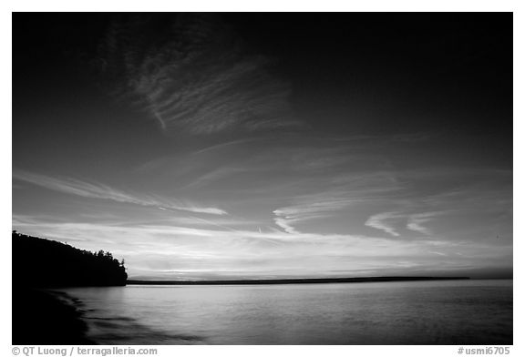 Sunset over Lake Superior,  Pictured Rocks National Lakeshore. Upper Michigan Peninsula, USA (black and white)