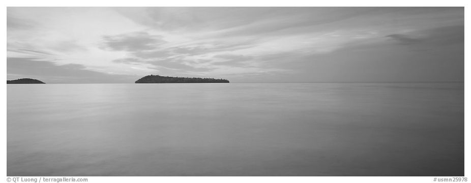 Dawn lakescape, Lake Superior. Minnesota, USA (black and white)