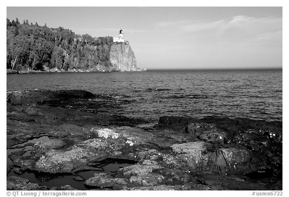 Split Rock lighthouse State Park, afternoon. Minnesota, USA (black and white)