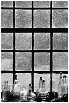 Window in the Kitchen building, Grand Portage National Monument. Minnesota, USA ( black and white)