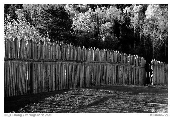 Fence, Grand Portage National Monument. Minnesota, USA (black and white)