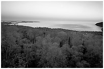 Forests and Lake Superior at Dusk. Minnesota, USA (black and white)