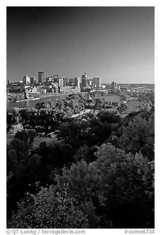 Saint Paul and the Mississipi River, early morning. Minnesota, USA (black and white)