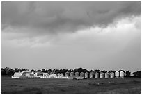 Storm clouds over grain silos. North Dakota, USA (black and white)